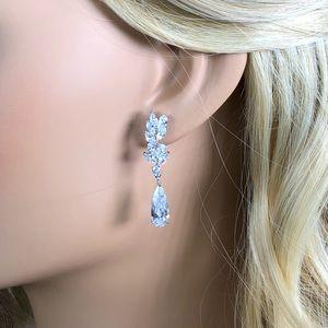 Bridal tear water drop crystal earrings diamond